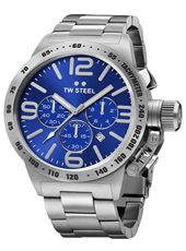 Canteen Bracelet 45mm Steel chronograph with blue dial